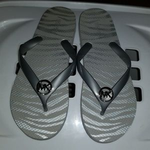 MK Silver on silver sandals